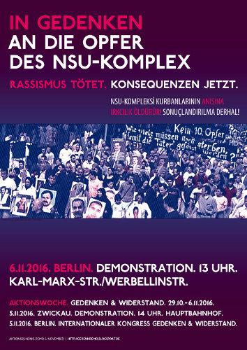 06.11.2016 BERLIN saat 13 de YÜRÜYÜŞ: NSU-Kompleksi kurbanlarının anısına! Irkçılık öldürür! Sonuçlandırılma Derhal!